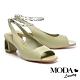 涼鞋 MODA Luxury 時髦金屬鍊條後繫帶方頭高跟涼鞋-綠 product thumbnail 1