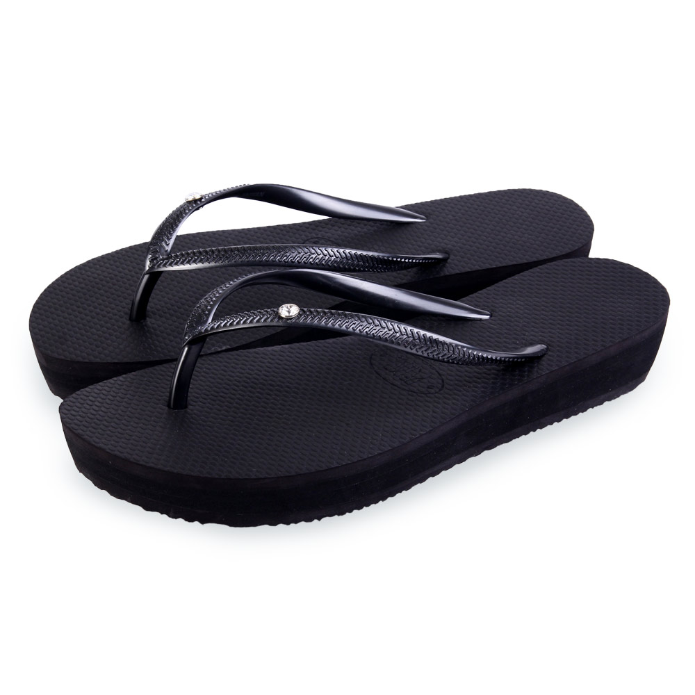 TTSNAP拖鞋-MIT時尚水鑽夾腳厚底涼拖 黑
