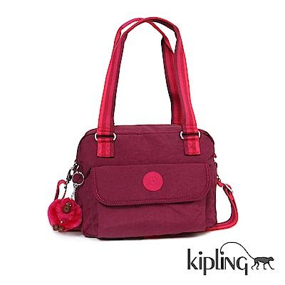Kipling 手提包 莓紫素面-中