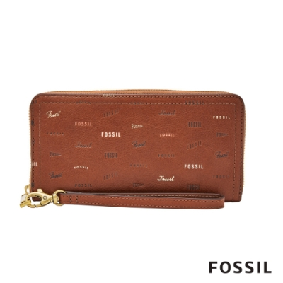 FOSSIL LOGAN 童趣拉鍊零錢袋RFID長夾-咖啡色 SL7915914