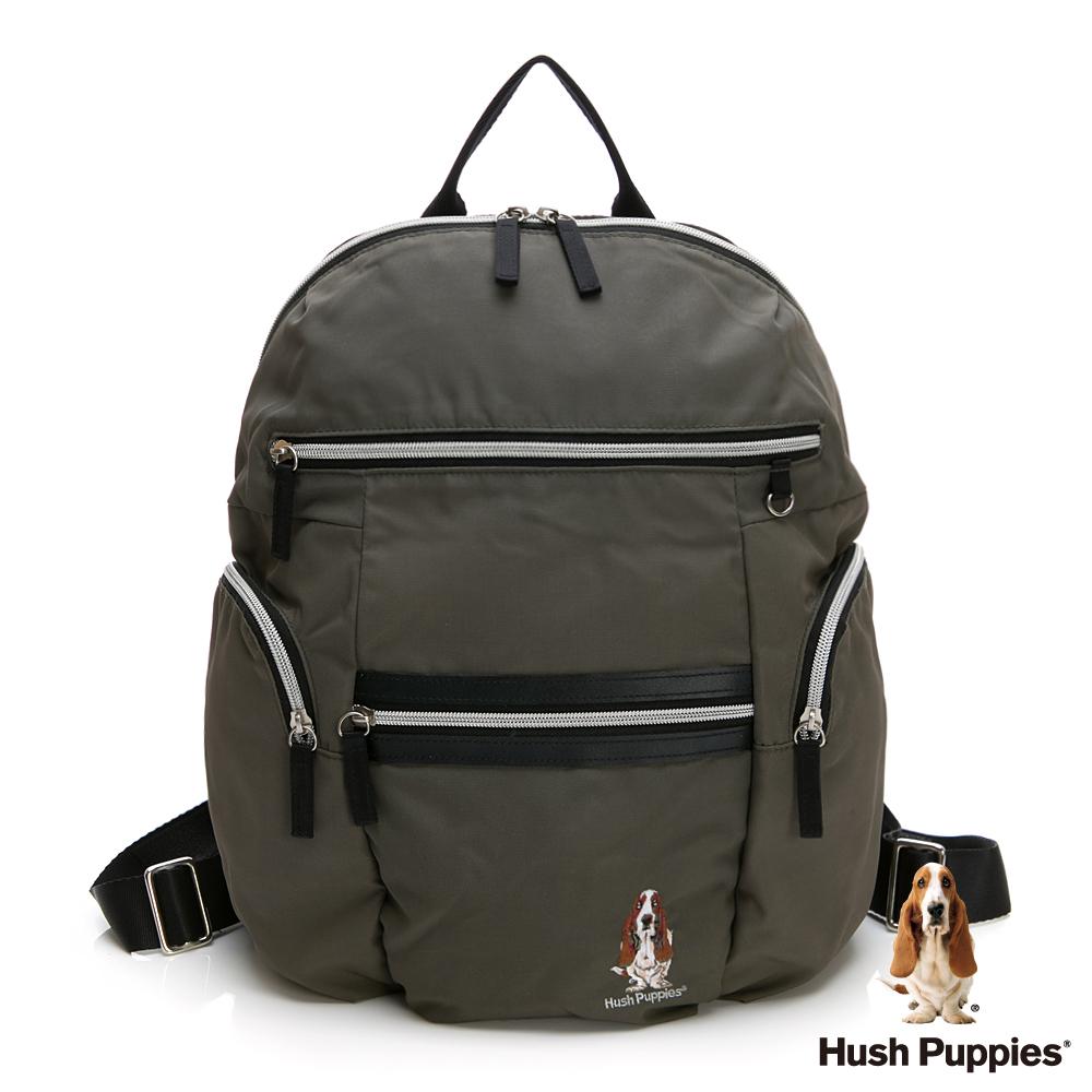 Hush Puppies 多功能拉鍊後背包-橄欖綠