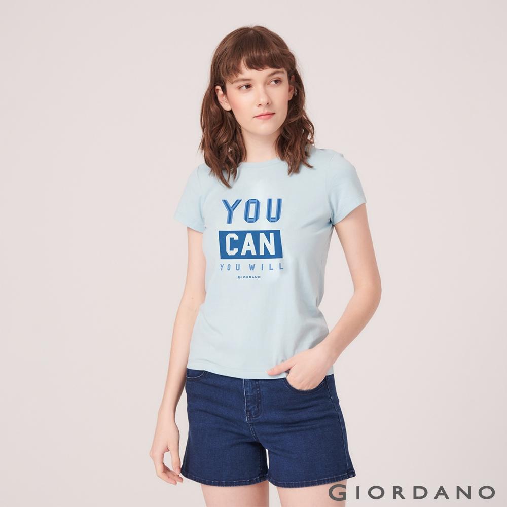 GIORDANO 女裝棉質圓領標語印花T恤- 48 酷藍