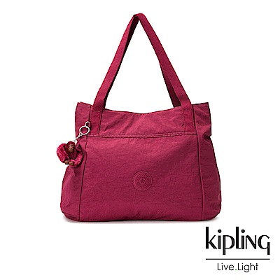 Kipling莓紫素面手提包(中)