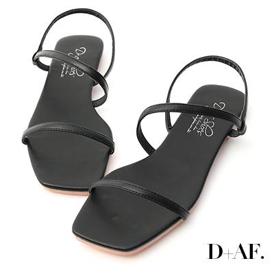 D+AF 清爽自在.復古方頭一字平底涼鞋*黑