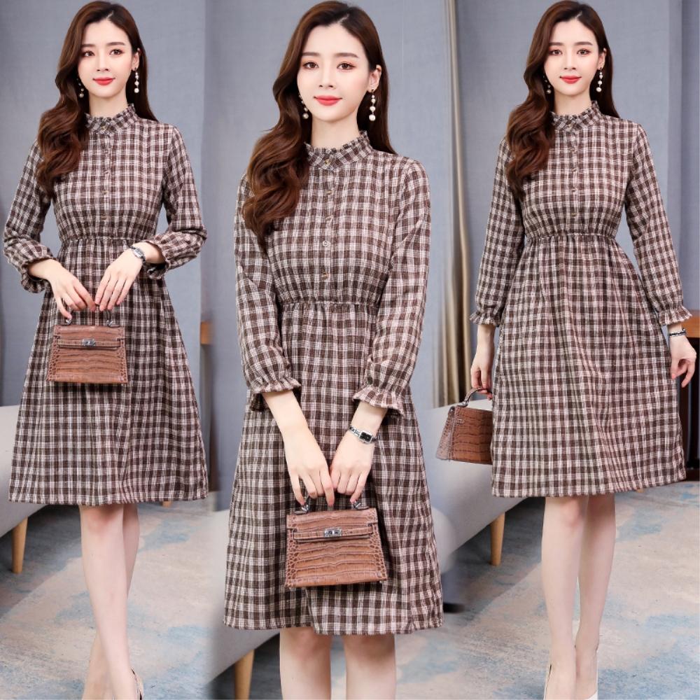 DABI 韓國風復古卡其襯衫收腰長版格紋長袖洋裝