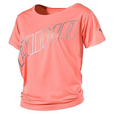 PUMA-女性慢跑系列Slogan短袖T恤-蜜桃紅-歐規