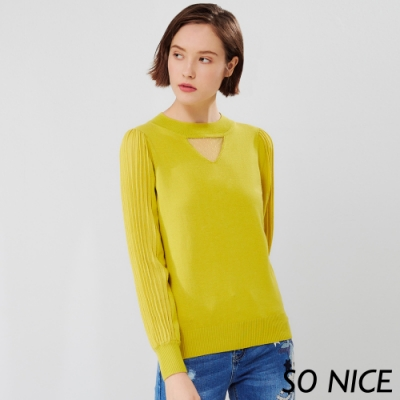 SO NICE時尚鏤空壓褶袖針織上衣