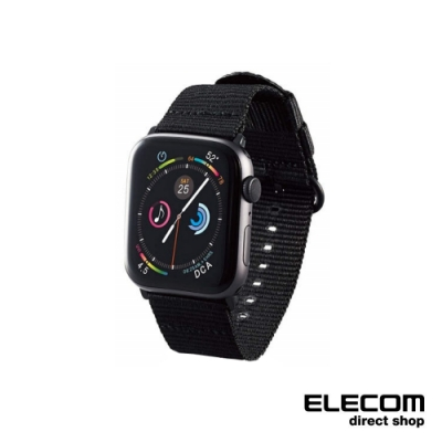 ELECOM Apple Watch 44mm布面錶帶-黑