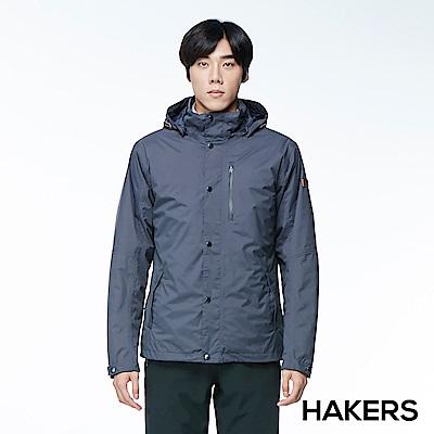【HAKERS 哈克士】男款 三合一防水保暖外套(石墨藍)