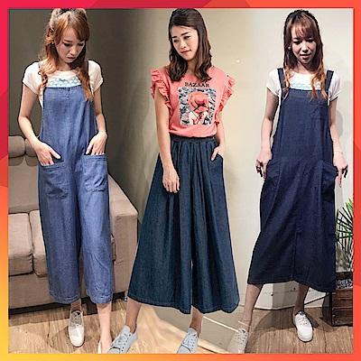 白鵝buyer 韓國製 單寧吊帶洋裝/褲/褲裙/外套(8款可選)