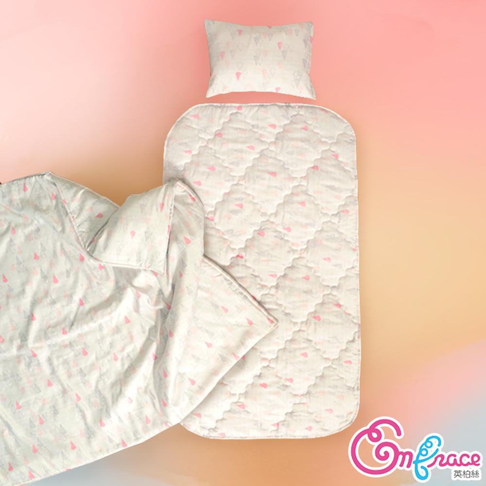 Embrace英柏絲 粉彩三角 Tencel天絲 吸濕排汗 兒童三件組 鋪棉床墊+涼