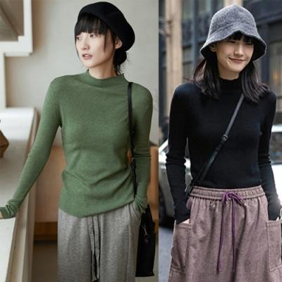 高品質精紡羊絨高領羊毛內搭衫毛衣3色-設計所在