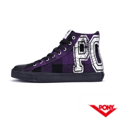 【PONY】Shooter系列蘇格蘭格紋時尚百搭帆布鞋 休閒鞋 紫黑