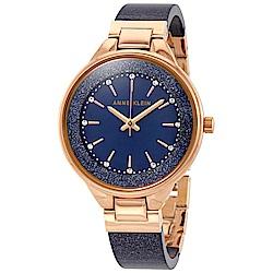Anne Klein 紐約時尚流沙金寶藍玻麗腕錶-寶藍色x32mm AK-1408NVRG