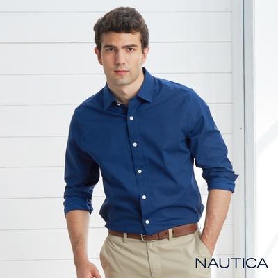 Nautica 男裝 極簡風格印花長袖襯衫-深藍