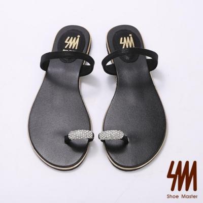 SM-簡約水鑽套指平底拖鞋