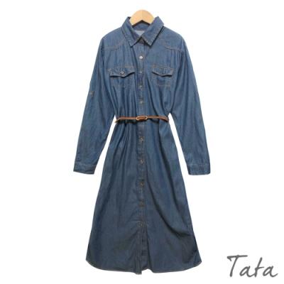 金屬排扣牛仔洋裝(附皮帶) TATA-F
