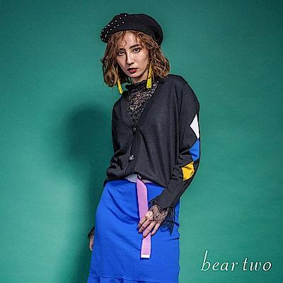 beartwo 袖子幾何圖形短版針織外套(二色)