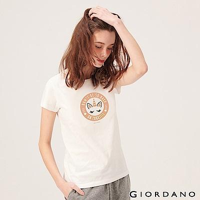 GIORDANO 女裝夢幻獨角獸系列印花T恤-01 皎雪