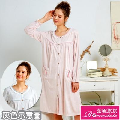 睡衣 針織棉長袖連身睡衣(R85203格紋兔兔) 蕾妮塔塔