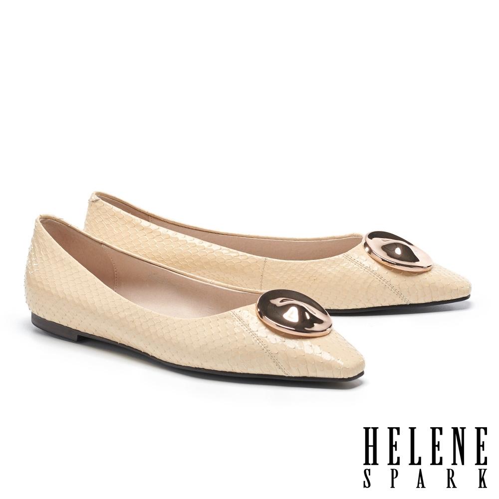 平底鞋 HELENE SPARK 經典時髦金屬圓釦全真皮平底鞋-米