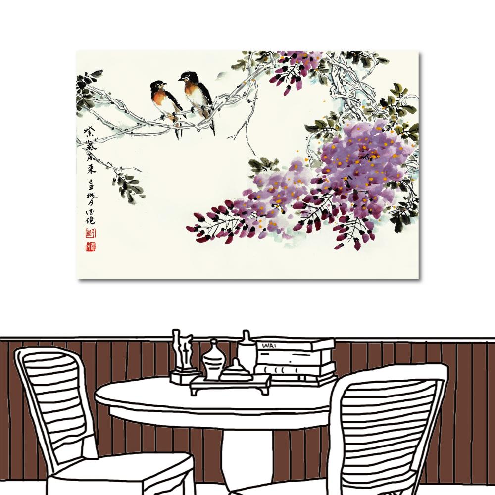 24mama掛畫 單聯式 無框畫水墨中國風-紫色薰香60x40cm