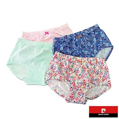 皮爾卡登 女兒童彈力碎花格紋平口褲-混色4件組(127003-1)