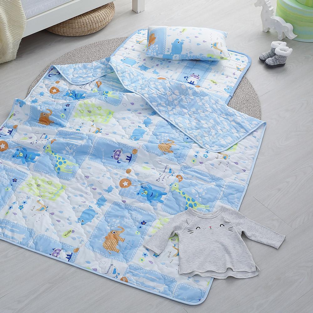 GOLDEN TIME-兒童睡墊涼被組-開心下雨天(藍)