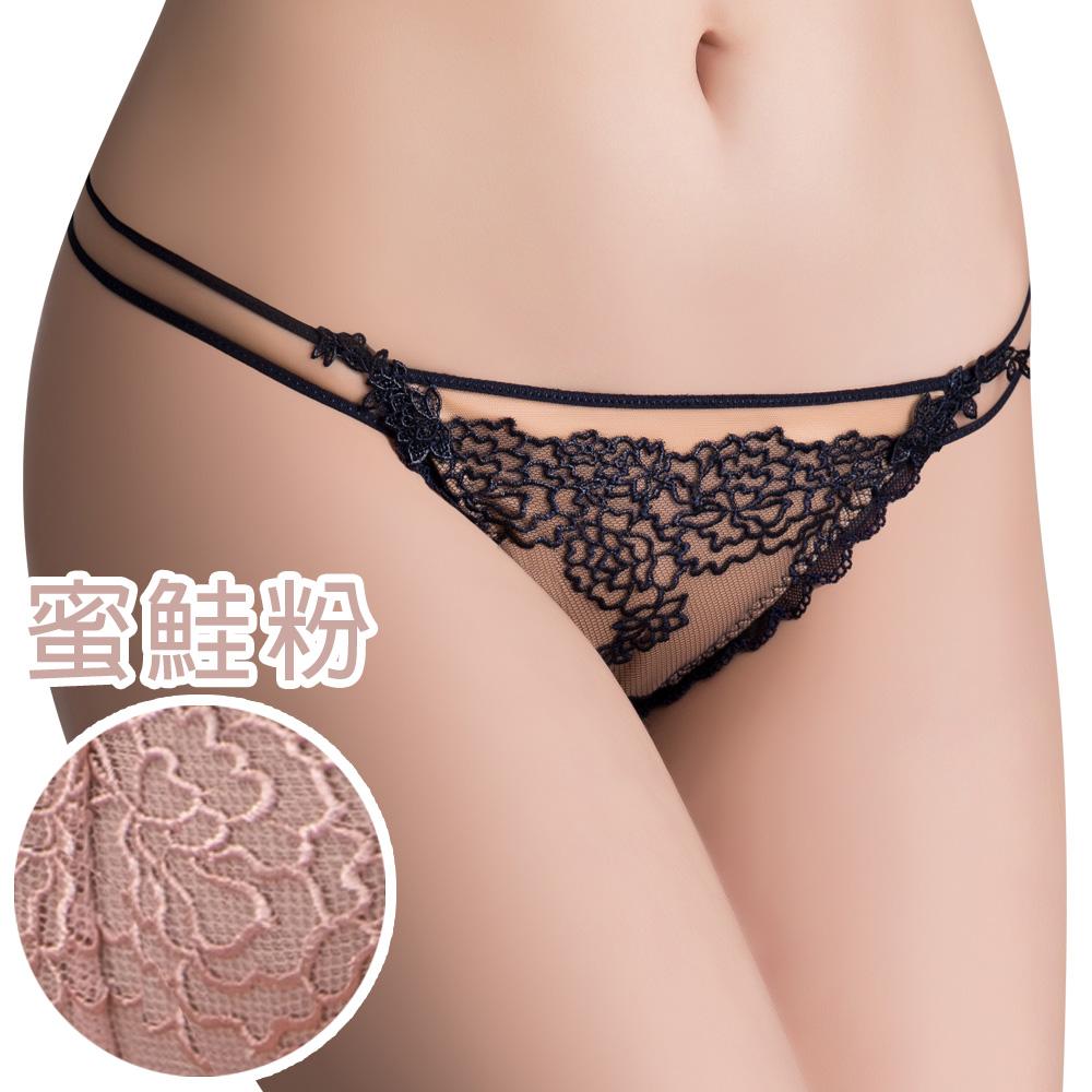 思薇爾 午夜巴黎系列M-XL蕾絲刺繡低腰丁字褲(蜜鮭粉)