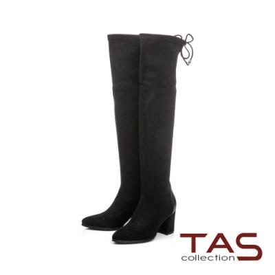 TAS彈力絨布後綁帶過膝靴-經典黑