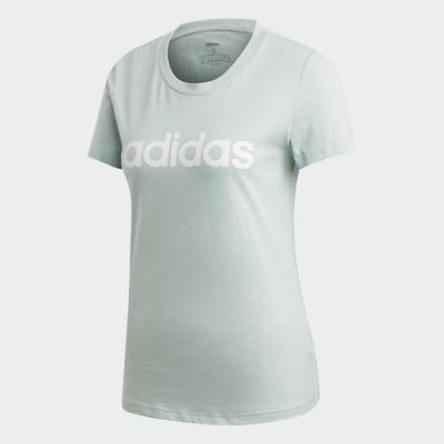adidas 短袖上衣 運動 休閒 健身 訓練 女款 綠 FM6424 ESSENTIALS
