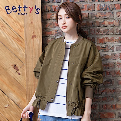 betty's貝蒂思 羅紋收邊拉鍊排釦外套(深綠)