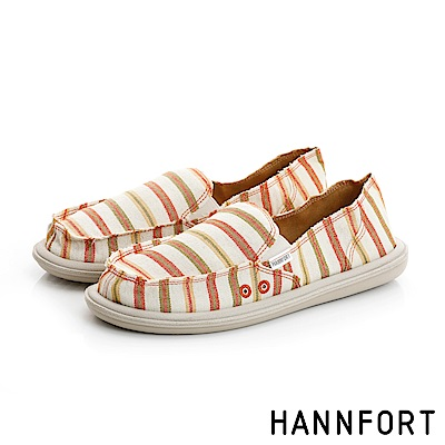 HANNFORT COZY條紋配色輕量休閒鞋-女-溫暖橘