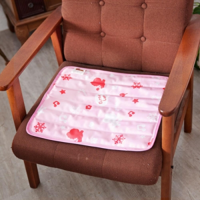奶油獅 雪花樂園-長效型降6度涼感冰砂冰涼墊/辦公坐墊/椅墊40x45cm- 粉色(二入)