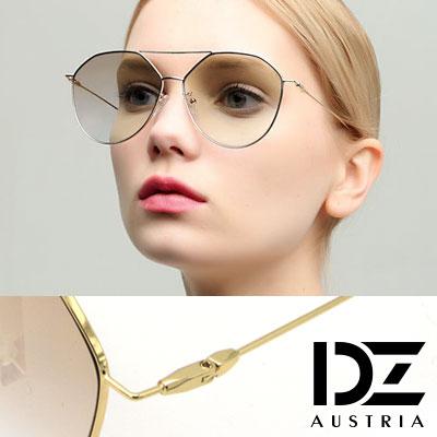 DZ 淺色片金屬細框 防曬太陽眼鏡造型墨鏡(金框漸層茶)