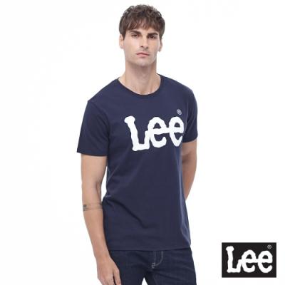 Lee 短T 白色大LOGO 圓領 男 藍