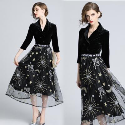 【KEITH-WILL】倫敦序曲復古優雅V領洋裝