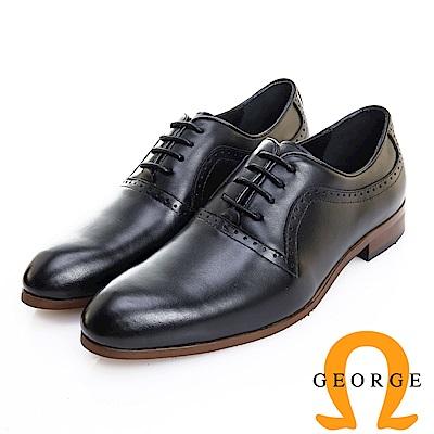 GEORGE 喬治皮鞋 歐風型男 都會時尚漸層刷色牛津鞋 -黑