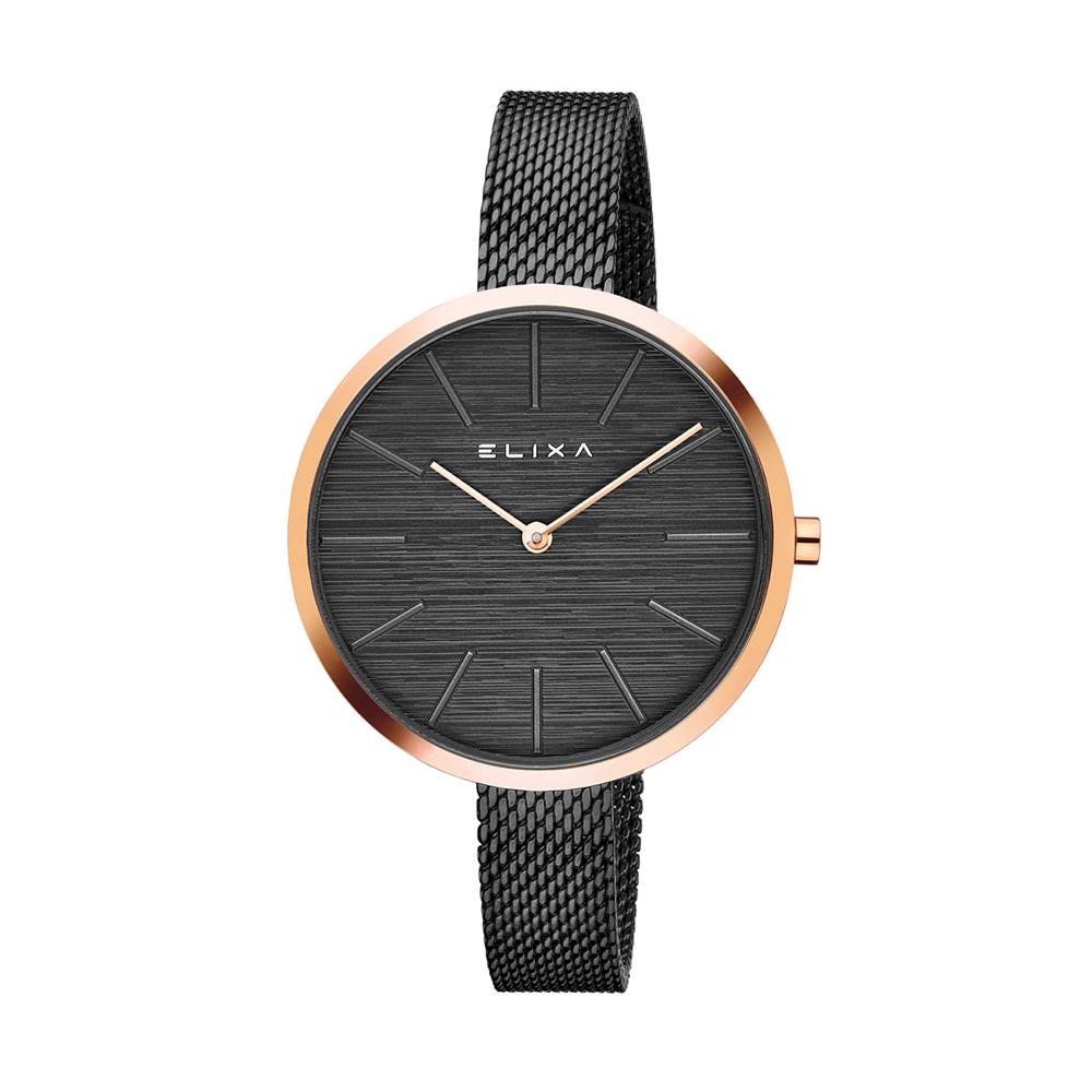 ELIXA Beauty簡約刻度金屬系列 黑色米蘭錶手錶帶36mm