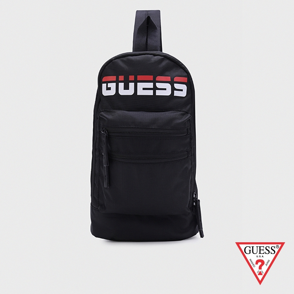 GUESS-男包-時尚撞色LOGO簡約單背包-黑 原價1590