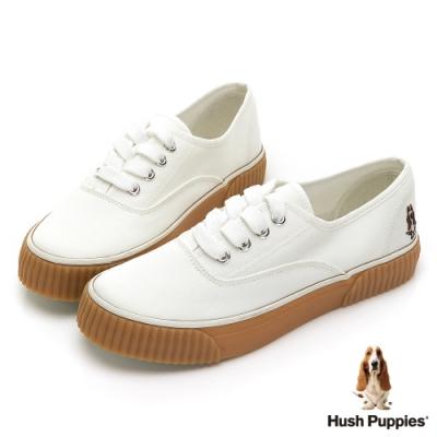 Hush Puppies  焦糖厚底帆布休閒鞋-白色