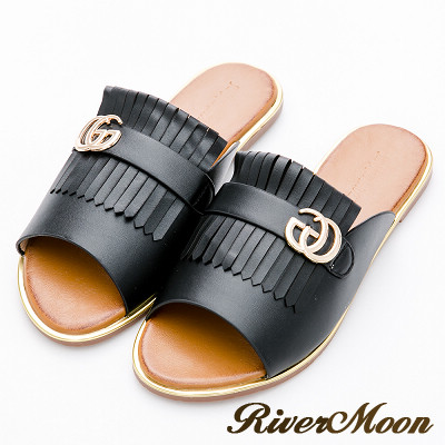 River&Moon大尺碼-時髦品牌風流蘇金邊涼拖鞋-黑