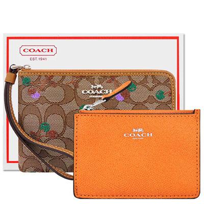COACH 咖啡色櫻桃大C織紋手拿包+COACH 橙黃色光澤防刮皮革鑰匙零錢包