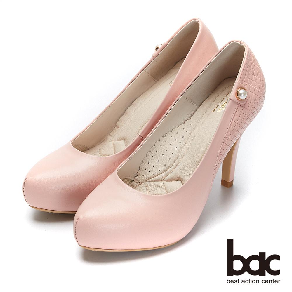 bac紐約不夜城 - 素雅單顆珍珠車格厚底高跟鞋-粉紅