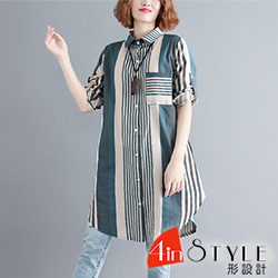 休閒兩穿條紋棉麻長袖襯衫 (綠條)-4inSTYLE形設計