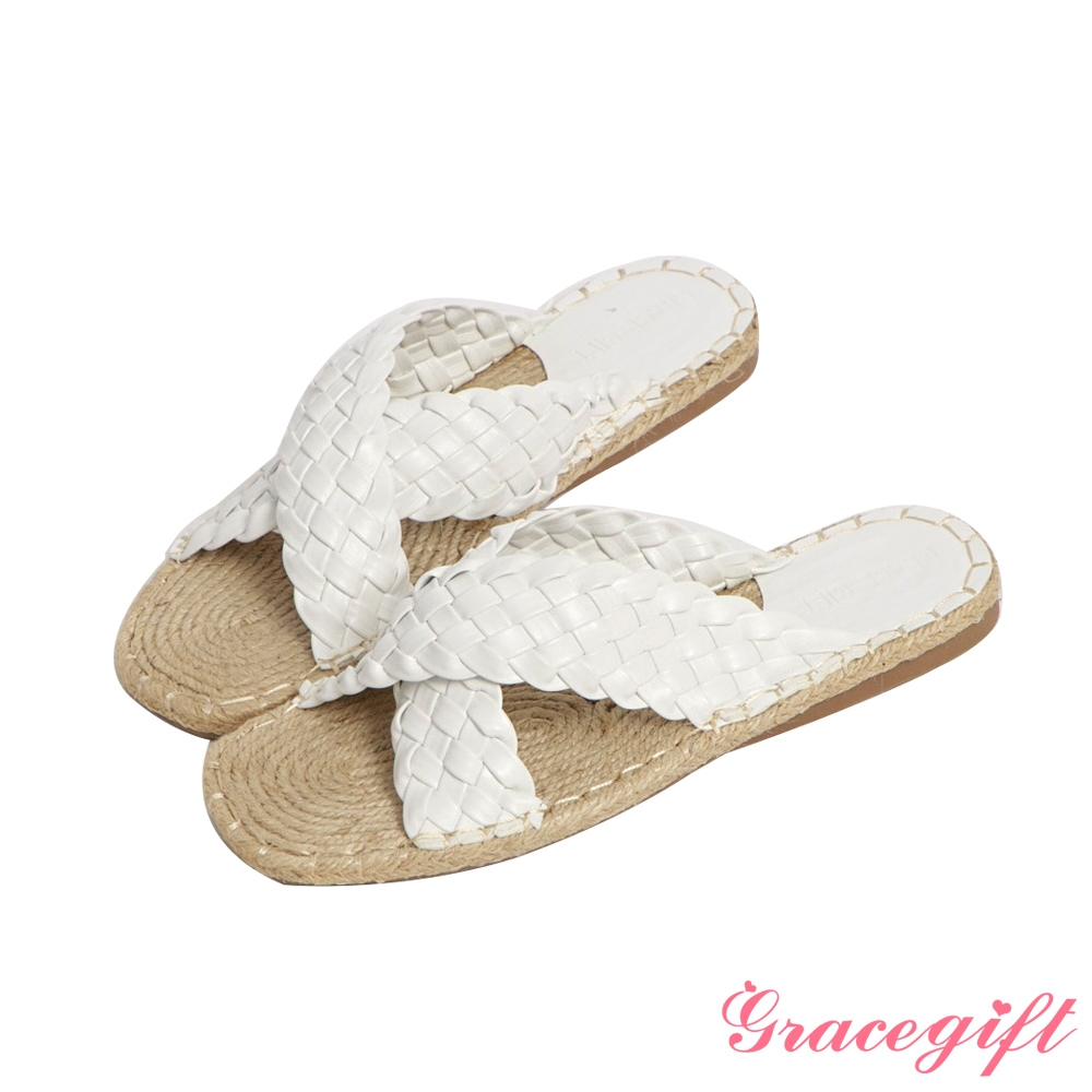 Grace gift-交叉麻編平底涼拖鞋 白