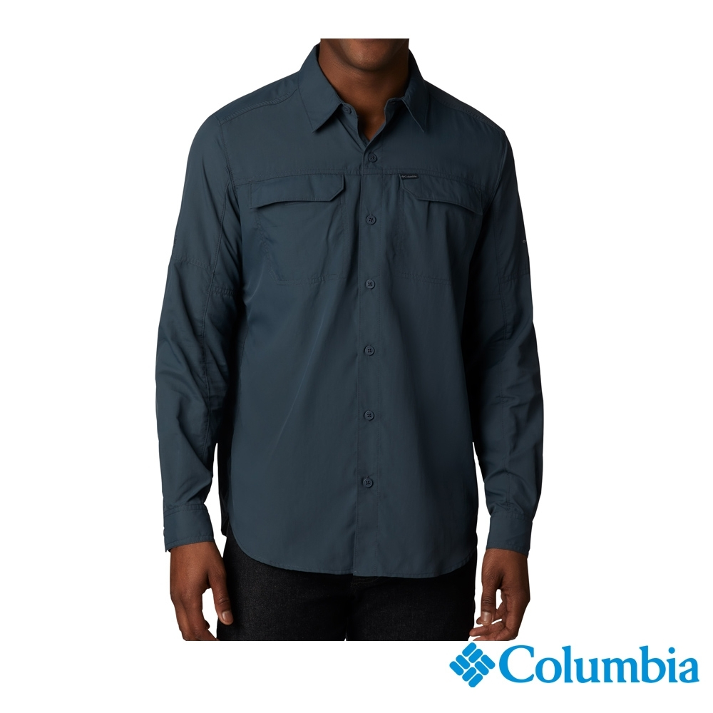 Columbia 哥倫比亞 男款-UPF50 快排長袖襯衫-墨藍