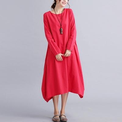 米蘭精品 連身裙長袖洋裝-純色長版圓領寬鬆女裙子2色73xz19
