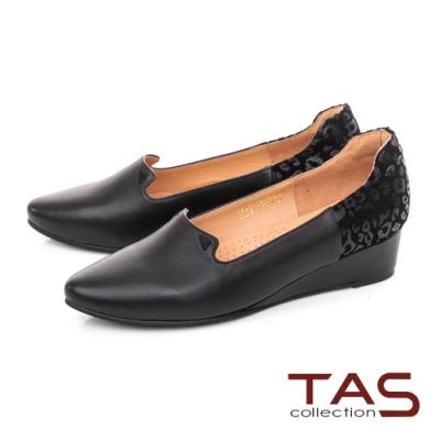 TAS素面綿羊皮拼接豹紋楔型娃娃鞋-質感黑