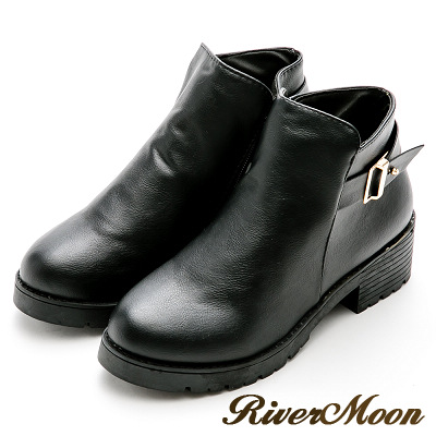 River&Moon百搭不敗-金屬釦環粗跟短靴-黑
